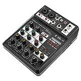 Mischpult, USB-Audiointerface Mini 4-Kanal-Soundkarte Mischpult, für PC-Aufnahme, Gesang,...