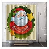DSMGLRBGZ Duschrollo Für Badewanne Anti Schimmel, Weihnachtsmann Kunst Digitaldruck...