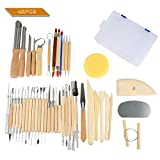 Espeedy 45pcs Set aus Holz Keramik & Ton Sculpting Werkzeuge mit Kunststoffkoffer Clay Loch Cutter Set fur Carving, Gestaltung, Clay Sculpture, Modellierung