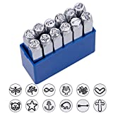BENECREAT 12 Pack 6mm Design Briefmarken, Metall Stempel Stempel - Galvanisch Hartstahl Werkzeuge zum Stempeln/Lochen Metall, Schmuck, Leder, Holz