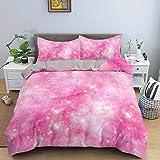 Bettwäsche 200x200 Rosa Sternenkinder Microfaser Bettbezug Set mit Reißverschluss,...