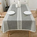 Tischdecken aus Leinen und Baumwolle, hohe Qualität, Bestickt, rechteckig, dick,...