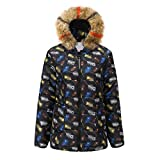 Transwen Steppjacke Damen Wintermantel Mit Kapuze Große Größe Vinitage Blumendruck Kapuzenjacke Böhmen Patchwork Winterjacke Warm Button-down Hoodie Kurzmantel Outwear Mode Übergangsjacke Tops