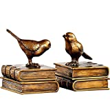 TYUIO Dekorative Rustikales Bücherregal-Dekor - Vögel auf Bücher Bookend Set