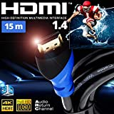 HDMI-Kabel 1.4 15 m UHD HDR 3D 1080p 4K High Speed Ethernet Arc PS3 PS4 Xbox HD TV 3D Blu-ray Full HD 1080p