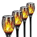 FLOWood Solar Gartenfackel realistischer Flammeneffekt 2 in 1 Solar Hängeleuchte für...