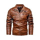 Herren Lederjacke PU Mantel Motorradbekleidung Plus Samt Lederjacke Herren Gr. XX-Large, natur