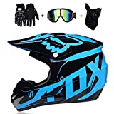 Motorrad-Integralhelm, Motocross-Helm, Cross Country For Erwachsene, Mountainbike-Integralhelm (einschließlich Helm, Schutzbrille, Gesichtsmaske, Cross Country-Handschuhe, Insgesamt Vier Sätze)