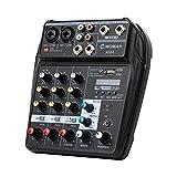 Moman Mischpult-Interface-Audio-Mixer-USB, Bluetooth 4-Kanal DJ Audiomischer, 2 Mono 1...