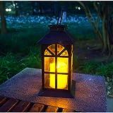 Solar Laterne für außen - mit hell flackernder LED Kerze - Tisch- und Hängelampe - in-...