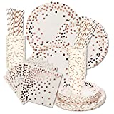 Tagaremuser 200 STÜCKE Einweg Party Geschirr Rose Gold Dot Weiß Geschirr Set Party Supplies mit Rose Gold Folie für Baby Shower Geburtstag Hochzeit (Rose Gold)