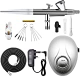 GANZTON Airbrush Set Double Action Airbrushpistole Luftkompressor Kit mit Kompressor und Verstellbarer Druck für Nägel Tattoos Nailart Kuchen Makeup Modellbau und anderes Handwerk(EINWEGPACKUNG)