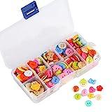 Naler 240 Bunte Knöpfe Set Kinderknöpfe Rund Kunststoff mit Aufbewahrungsbox Mixed in verschiedene...