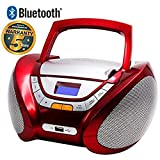 LAUSON CD Player USB | Bluetooth | Stereoanlage Boombox | CD Radio Tragbar | Kinder Radio mit Cd Spieler | USB kopfhöreranschluss | Cd Player für Kinder (Rot Bluetooth)