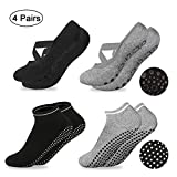 Rutschfeste Yoga Socken für Damen, 4 Paar Sportsocken Pilates Socken Ballett Socken Fußboden Socken mit Gumminoppen Kreuzend Bänder Ideal für Yoga, Pilates, Ballett, Fitness, Barfuß-Training,Trampolin