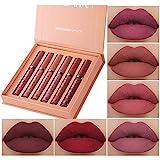 6 Stück Matt Ink Lippenstift Set Nudetöne Wasserfest Langlebiger Makeup Lipgloss...