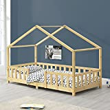 BiYeer Hausbett Kinderbett Mit Rausfallschutz 90x200cm Haus Holz Natur Bettenhaus Hausbett...