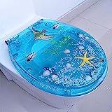 WEITONG toilettendeckel absenkautomatik, 1.5CM gepolsterter Toilettensitz rund blau,...