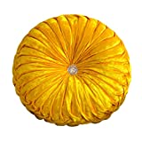 Mhomrs Round Pumpkin Throw Pillow Velvet Pleated Couch Cushion Floor Pillow for Sofa Chair Bed Car Home Decoration