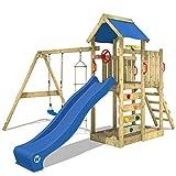 WICKEY Spielturm Klettergerüst MultiFlyer mit Schaukel & blauer Rutsche, Kletterturm mit...