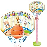 SZNWJ 2-in-1 Basketball Set - Kinder Ständer anpassen Hoop & Wandbasketballkorb 2-in-1 Basketball-Sets Spielzeug mit Ballpumpe Indoor und Outdoor Fun Spielzeug for 2+ Jahre alt