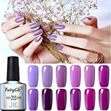 UV Nagellack Gel Shellac Set für Nageldesign Nail Polish Maniküre Set Soak Off UV LED Gel Gellack Gel Farbe von Fairyglo -12pcs Lila 005(12xStück 10ml)