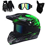 PKFG Mopedhelm Motocross Helm Herren, Serie HM-718 Motorradhelm Set Damen Fullface Motorrad DH Cross Offroad Enduro Mountainbike Helme mit Visier Brille Handschuhe Maske,Black Green M
