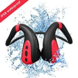 Bigvapor Schwimmen MP3-Player Bluetooth 5.0 Knochenleitung Bluetooth Headset Kopfhörer 8G MP3-Player wasserdicht Wireless Sport Headset (schwarz rot)