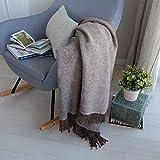 Linen & Cotton Weiche Warme Decke Wolldecke Wohndecke Kuscheldecke Columbus - 100% Reine...