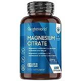Magnesium Kapseln - 180 Kapseln - 740mg reines Magnesium Citrat mit 220mg elementares Mag...