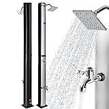 Arebos Solardusche | 37 Liter | 199 cm | mit integriertem Thermometer | Silber-Schwarz |...