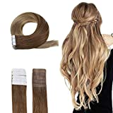 Easyouth Tape Haarverlängerung Echthaar Ombre 50g 22 Zoll Farbe #10 Dark Ash Blonde To #14 Dark Golden Blonde Glue In Real Hair Extensions Seamless Hair Extensions