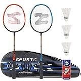 Fostoy Badmintonschläger Set, 2 Pack Badmintonschläger mit 3 Federbällen & Tragetasche...
