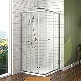 Duschkabine Eckeinstieg 75x90cm Duschabtrennung Schiebetür, Duschwand Glas Duschtür 6mm...