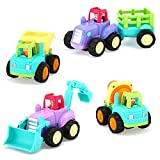 VATOS Baby Spielzeugauto für Kleinkinder, Spielzeugautos für Jungen Mädchen im Alter von 1, 2+ Jahren Push and Go Auto, 4 Sätze Traktor, LKW, Dumper, Bulldozer Friction Powered Car