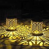 Gadgy Solarlaterne für Außen Hängend | 2 Stück mit Pfau-Motiv | Solar Laternen für...