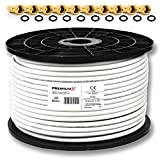 PremiumX PROFI 100m Koaxial Kabel 130 dB 4-Fach geschirmt, REINES KUPFER SAT Antennenkabel...