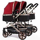 Zwillingskinderwagen Kombi, faltbarer Doppelsitz-Tandemwagen mit verstellbarer...