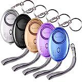 SUNMAY Taschenalarm, 5 Stücke 140db Personal Alarm Schlüsselanhänger mit Taschenlampe,...