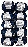 10 x 50g YarnArt Manhattan Viscose - Garn mit Glitzer, 500 Gramm Metallic-Wolle,...
