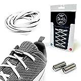 Senkly Elastische Schnürsenkel mit Metallkapsel für Sneaker (Weiss-Silber)