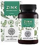 NATURE LOVE® Zink - 365 Tabletten (1 Jahr) - Hochdosiert (25mg): Zink-Bisglycinat (Zink...