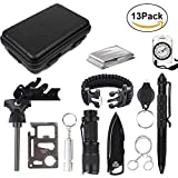 Survival Kit, Emergency Survival Kits 13 IN 1 Überlebens Kits Survival Outdoor Gear Kit Set mit Tactical Pen, Feuerstarter, Kompass, Taschenlampe für Outdoor Wandern Camping Wildnis