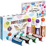 Waschbare Marker, Ohuhu 8 Farben Punktmarker (40 ml) mit einem leeren...