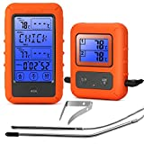 YISUN Barbecue Funk Thermometer, Digitales Bratenthermometer Grillthermometer Touchscreen LCD Display mit 2 Temperaturfühlern für BBQ, Ofen und Grills