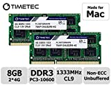 Timetec Apple 8 GB DDR3 1333 MHz PC3–10600 ungepuffert nicht-ECC 1,5 V CL9 2Rx8 Dual Rank 204 PIN SODIMM Apple Memory RAM Arbeitsspeicher Upgrade Low Density 8GB(2x4GB)