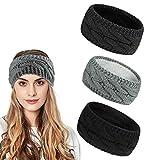 Ealicere 3 pcs Winter Warmes Knoten Gestrickte Stirnbänder, Elastisches Frauen Haarband,...