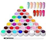 Anself 36 Farben UV farbgel, UV Gel Set gelfarben für nägel, Nail Art Farbgel Set, gel...