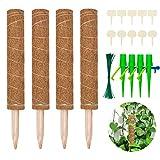 Halcyerdu 4 Stück 40 cm Kokosstab mit 10 Holzetiketten, 50 Pflanzenbinder und 2...