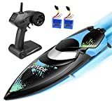 kuman Ferngesteuerte Boote,Upgrade Waterproof Remote Control Boat for Pools and Lakes 25km/h High Speed RC Boats Toy for Kids and Adults KS3